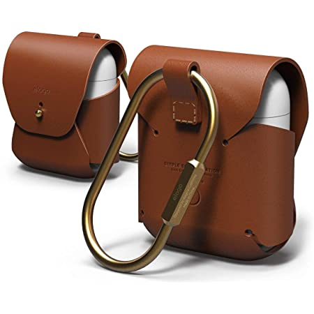 elago Genuine Leather Case Compatible with AirPods 1 Case and Compatible with AirPods 2 Case, Natural Cowhide Leather Case with Brass Ring Holder, Supports Wireless Charging [Brown]