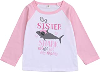 LYSMuch Sibling Shark Shirts for Baby Toddler Boys and Girls T-Shirt Matching Big Sister Little Brother T