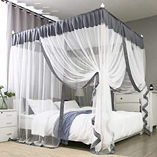 JQWUPUP Elegant Bed Canopy Curtains, Color Stitching Ruffle Princess 4 Corner Post Mosquito Net, Bed Canopy for Girls Adult Kids Toddlers Crib, Bedding Décor (Queen, Grey)