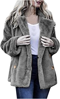 Kansopa Women's Casual Jacket Winter Hairy Fashion Personality Warm Outwear Button Pocket Long Outercoat Coat