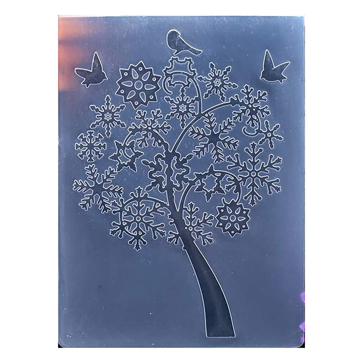 Kwan Crafts Merry Christmas Christmas Snowflake Tree Plastic Embossing Folders for Card Making Scrapbooking and Other Paper Crafts, 10.5x14.5cm