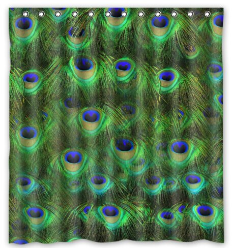 """Fancy Glitter Peacock Water-Proof Polyester Fabric (66"""" x 72"""" ) Shower Curtain"""