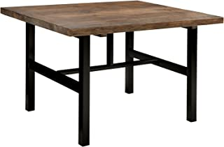 Pomona Metal and Reclaimed Wood Dining Table, Rustic Natural