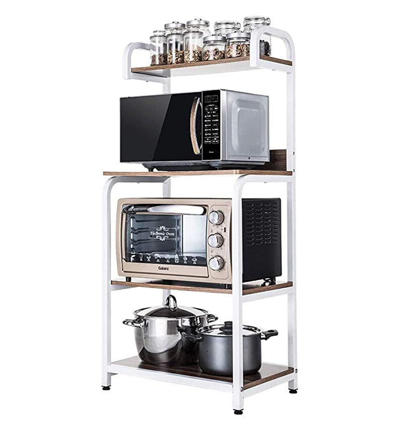 押す遅滞精緻化キッチンパンラック、4ティア電子レンジストレージスタンド、ユーティリティ?ストレージ、整理ワークステーション棚のためのスパイス用品