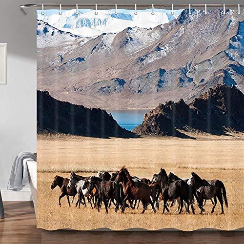 JAWO Duschvorhänge für Badezimmer, Western Mountain & Bauernhof, Tierdeko, Duschvorhang, Profession, Polyester Stoff, 69 x 178 cm