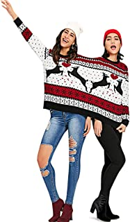 Crew Neck Long Sleeve Two Person Knit Pullover Ugly Christmas Sweater
