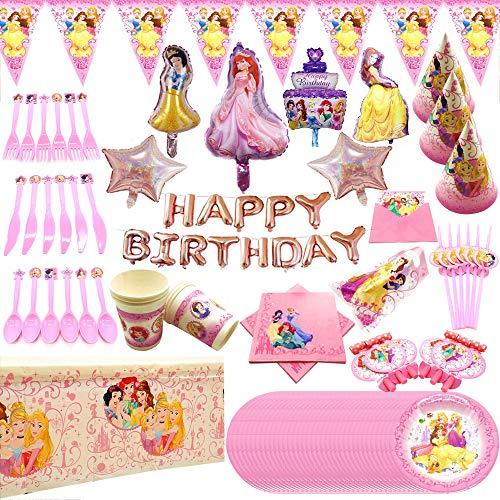AGAN Disney Princesa cumpleaños Juegos de Disfraces Platos Desechables niños Mantel Taza del Casquillo de Ducha de bebé favorece a Las niñas Juego de Regalo