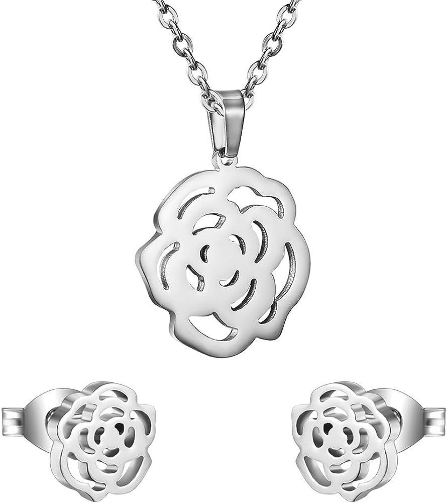 AOCHEE Tiny Rose Flower Necklace Earrings Jewelry Set 3 Colors foe Women Girls