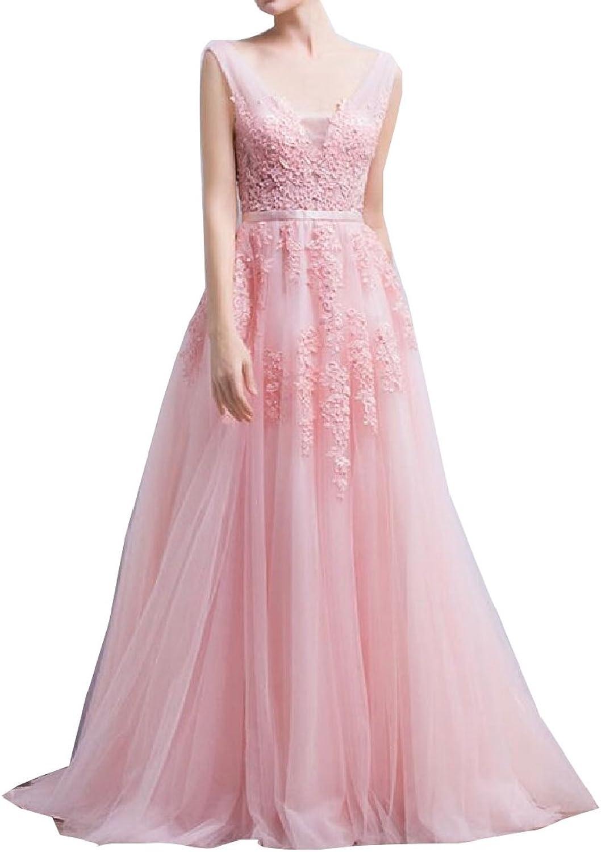 Jxfd Women's V Neck Lace Aline Empire Long Formal Evening Dress