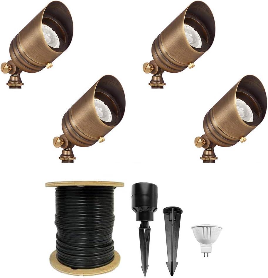 Very popular! VOLT Fat Boy 12V LED Outdoor Dallas Mall Kit Spotlight Brass 4-Pack Bronze