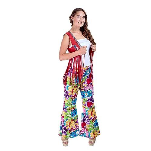 7c8deac925 Charm Rainbow Women s 70 s Costume Hippie Pants Stretchy Tie Dye Bell Bottom