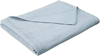 eLuxurySupply Metro Weave Blanket - 100% Soft Premium Cotton Blanket - Perfect for Layering Any Bed, Full/Queen, Light Blue