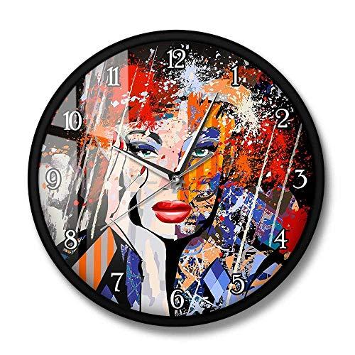 Arte Abstracto Moda Dama Retrato Reloj de Pared Moderno Pintura Retrato de una Cara de Mujer Reloj de Pared silencioso Decoración Interior para el hogar-Metal_Frame_with_acrílico_Glass