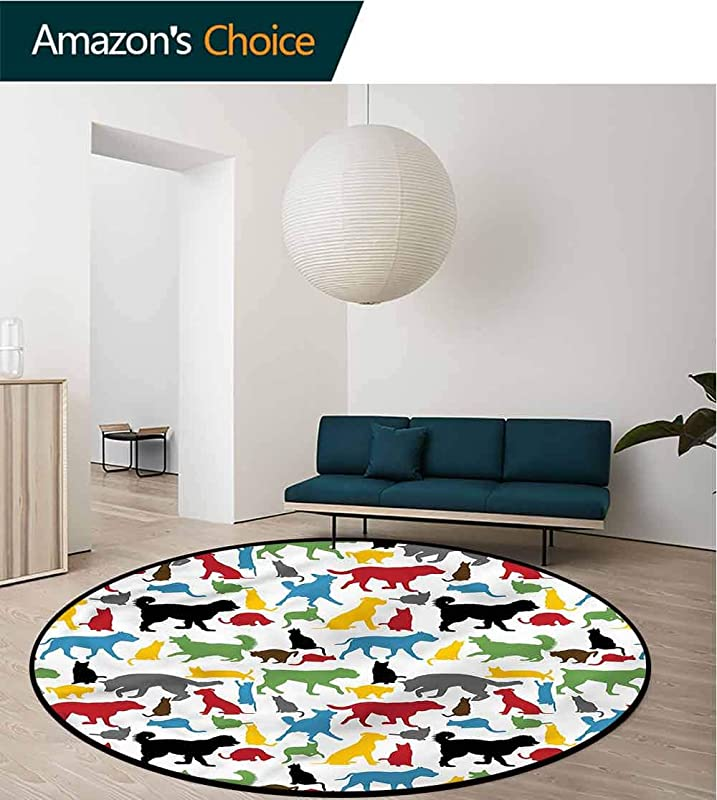 RUGSMAT Kids Modern Vintage Rugs Colorful Cats And Dogs Pattern Floor Seat Pad Home Decorative Indoor Diameter 47