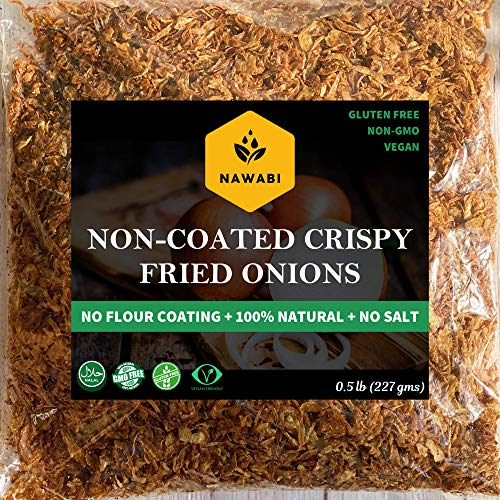 Non-Coated Crispy Fried Onions - Healthiest Fried Onions, Gluten free,100% Natural, Non-GMO, No Sodium, Low Carb, Keto friendly, Kosher, Halal & Delicious| By Nawabi