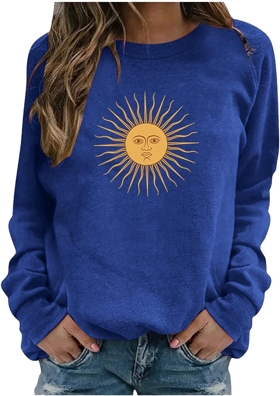fannyouth Womens Crewneck Sweatshirts,Ladies Casual Long Sleeve Pullover Tops Vintage Sun Print Graphic Sweatshirts Tops
