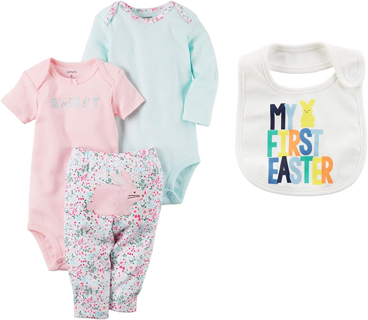 Carter's Baby Girl's My Superior First Easter Piece 3 Dedication Bodysuits and Bunny