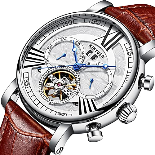 JTTM Moda Business Hombres Automático Mecánico Tourbillon Relojes De Pulsera Cuero Correa Luminoso Puntero Calendario Multifunción,Silver White