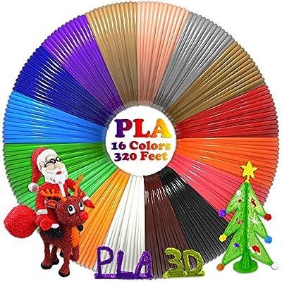 dikale PLA 3D Pen Filament Refills(16 Colors, 20 Feet Each) with 100 Stencils EBooks 3D Printing Pen Filament 1.75mm Total 320 Feet for Tecboss Aerb Polaroid 3D Pen