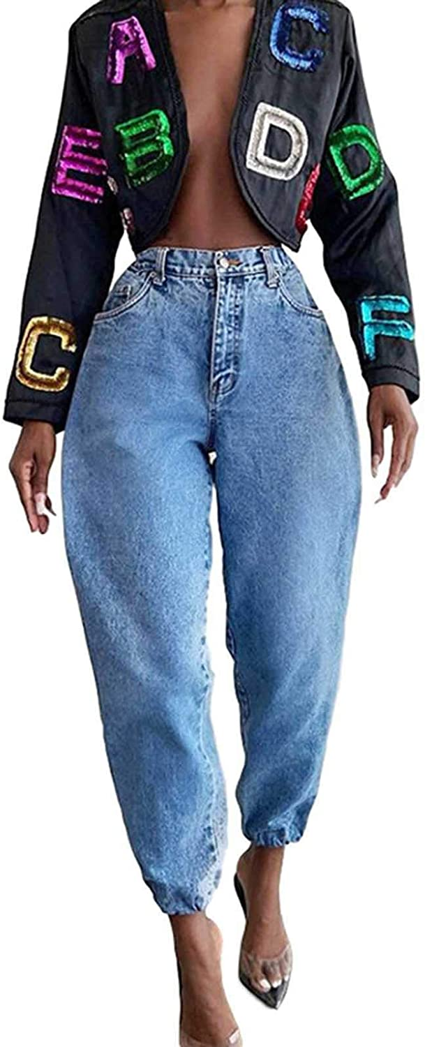 ZAKIO Jeans for Women, Women's High Waist Washed Frayed Jeans Casual High Rise Loose Wide Leg Bootcut Baggy Jeans