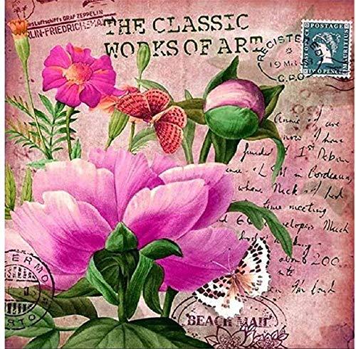 KELDOG® Puzzels voor volwassenen 1000 stuk houten puzzel - stempel roze bloemen, draagbaar opgerold puzzelspeelgoed, IQ Challenge Modern Art Decor