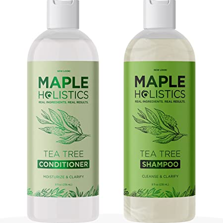 Tea Tree Shampoo and Conditioner Set - Sulfate Free Shampoo and Conditioner for Dry Damaged Hair and Scalp Care - Pure Tea Tree Oil Shampoo and Conditioner Set for Dry Scalp Care for Women and Men