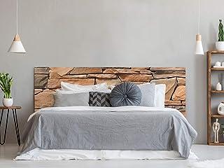 Cabecero Cama PVC Fondo de Textura de Pared de Piedra | 150x60cm | Cabecero Ligero, Elegante, Resistente y Económico