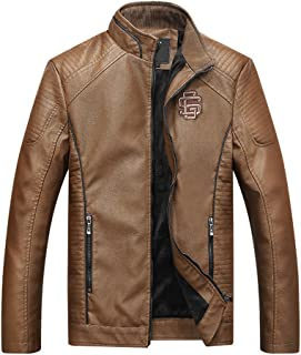 Men's Motorcycle Biker Casual Stand Collar PU Leather Jacket Khaki S