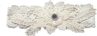 Junguan Women's White Flower Lace Rhinestone Garter Set Wedding Bridal Garter