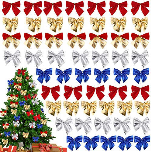 HICOO Festivalbogen Dekorationen Weihnachten Band Bögen Ornamente für Weihnachtskränze Geschenke Baum Neujahr Dekoration 48 Stück