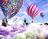 Globo Aerostático Púrpura Lavanda Paisaje Romántico Diy 5D Diamante Pintura Taladro Completo Diamantes Imitación Redondo Punto Cruz Bordado Mosaico Accesorios Decoración Hogar Regalo Sin Terminar