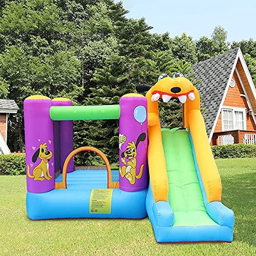 YQZ Castillo Hinchable para niños con soplador de Aire, Castillo para Saltar con tobogán Largo, casa de Juegos con Piscina para Pelotas, Parque de Atracciones al Aire Libre para niños