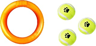 Mighty Dog Toy Rubber Ring with 3 Pcs Dog Small Tennis Ball, Pet Safe and Durable. Perfect for Training & Exercise, Fun fo...