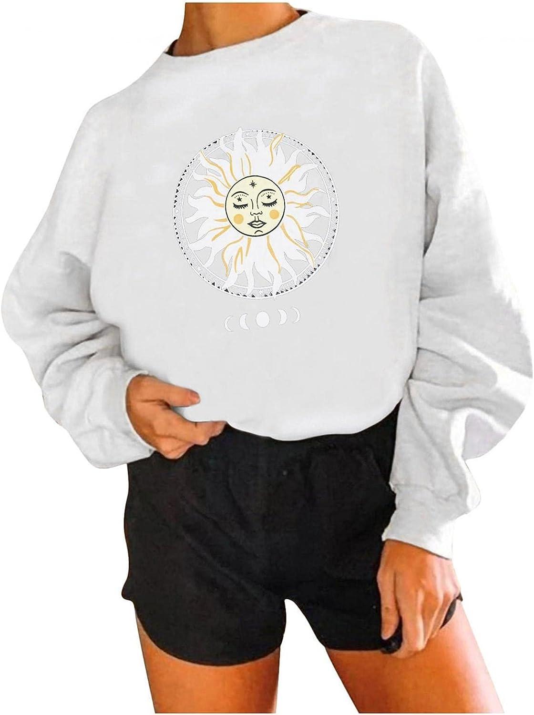 Long Sleeve Tops for Women,Casual Oversized Sweatshirts Loose Crewneck Heart Sun Print Basic Pullover Tops