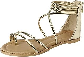 Women's Crisscross Ankle Strappy Toe Ring Flat Sandal