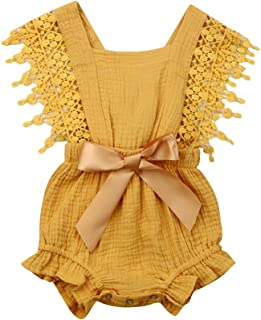 Newborn Baby Girl Rompers Lace Flutter Sleeve Bowknot Jumpsuit Bodysuit Princess Clothes