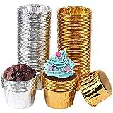 100 Piezas Papel para Magdalenas Moldes para Muffins de Papel Aluminio Forros de Aluminio para Cupcakes para Hornear Pastel Tarta Cumpleaños Bodas Fiesta (Forma redonda)