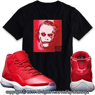 05a623f13a96e6 Custom T Shirt Matching AIR Jordan 11 Win Like 96 Matching TEE Bulls red JD-