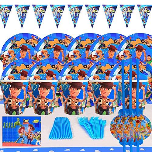 Kit De Vajilla Desechable, BAIBEI Decoraciones Cumpleaños Kit Para Mesa De Fiesta Toy Story 4 Theme Gaming Artículos De Fiesta Desechables Complete Party Supplies Kit Baby Shower