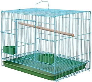 Despacito Bird Cage for Love Birds with Handle, Two Feeder Bowls, Wooden Perch Stick and Bird Swing(Random,24 * 17 * 16 In...
