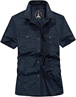 Goorape Men's Cotton Tactical Dress Stylish Short Sleeve Button Down Shirts