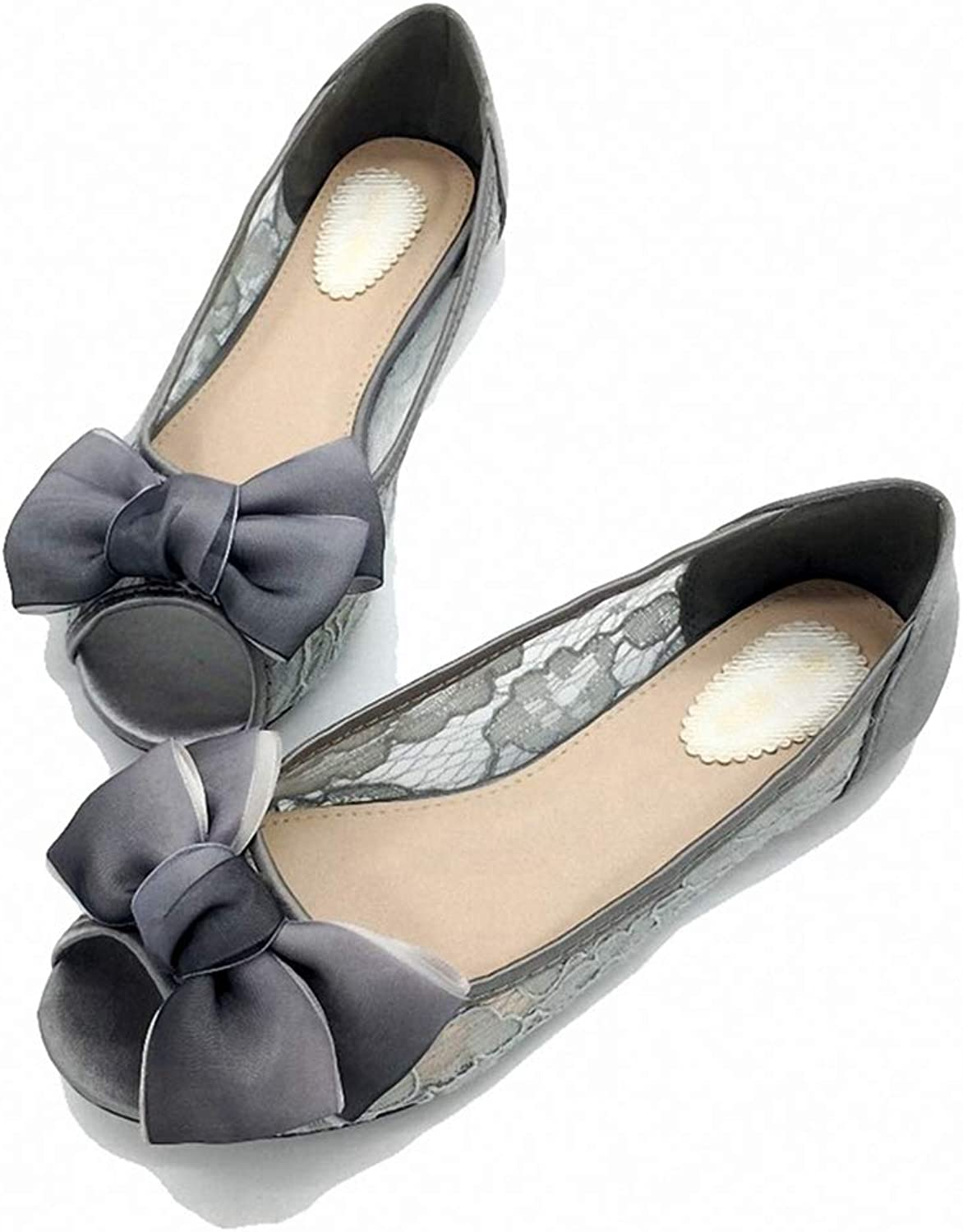 Kyle Walsh Pa Women Ballet Flats shoes Peep Toe Bow-Knot Ladies Lace Stylish Work Driving Footwear