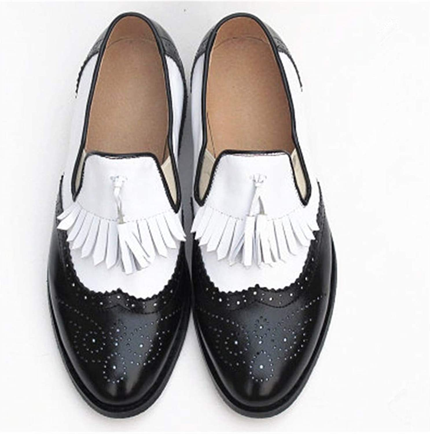 Zhaoguan Women Oxford Spring shoes Genuine Leather Loafers for Woman Tassel Single shoes