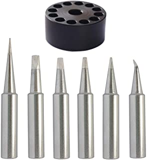ShineNow Quality T18 Soldering Tip Set 6pcs Replacement for Hakko FX-888D FX-888 FX8801 FX-600 T18 with A Tip Holder