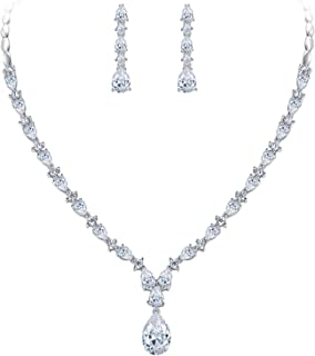 EVER FAITH Gorgeous White Cubic Zirconia Charming Water Drop Bridal Bride Necklace Earrings Set Silver-Tone