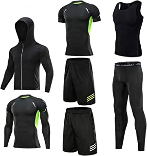 Mens Gym Clothes Running Kit Shorts Workout 7 Pcs Set Fitness Sports Compression Tracksuit Clothing Mens Gym Running Clothes