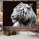 NTtie Tapices Decoración para Dormitorio o Sala de Estar, Dormitorio de Tela de Fondo de león Animal Negro