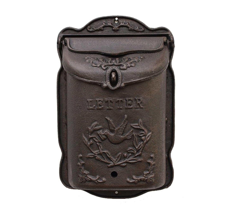 梁友 ウォールマウントメールボックス メールボックス - 鋳鉄、ヨーロッパの錬鉄のヴィンテージの古い壁掛けの大きな工芸品メールボックス、別荘、中庭、家族に適した - 利用可能な2つのスタイル (色 : A)