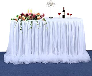 Aibelly Tutu Tulle Table Skirt Handmade Fluffy Tableware Tablecloth For Christmas Wedding Baby Shower Wedding Birthday Party Home Decoration Table Skirting (L 6(ft) H 30in White)
