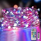 Guirnaldas Luces LED 10m 100 Leds, USB Powered 12 colores que cambian 12 modos Cadena de luces de hadas con control remoto y temporizador para Pascua Interior Fiesta al aire libre Decoración navideña